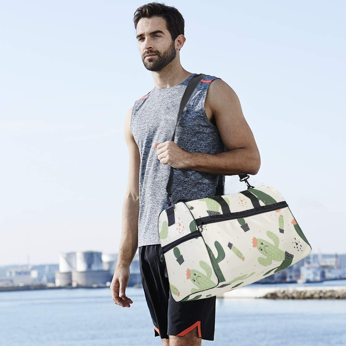 Travel Duffel Bag Angry Cartoon Potted Cactus Plant Luggae Sports Bag
