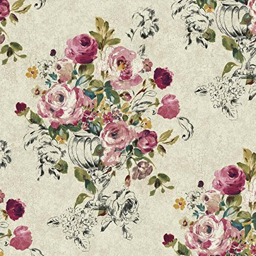 (Wallpaper Large Floral in Vase Purple Pink Teal Black Green Yellow on Cream Faux )