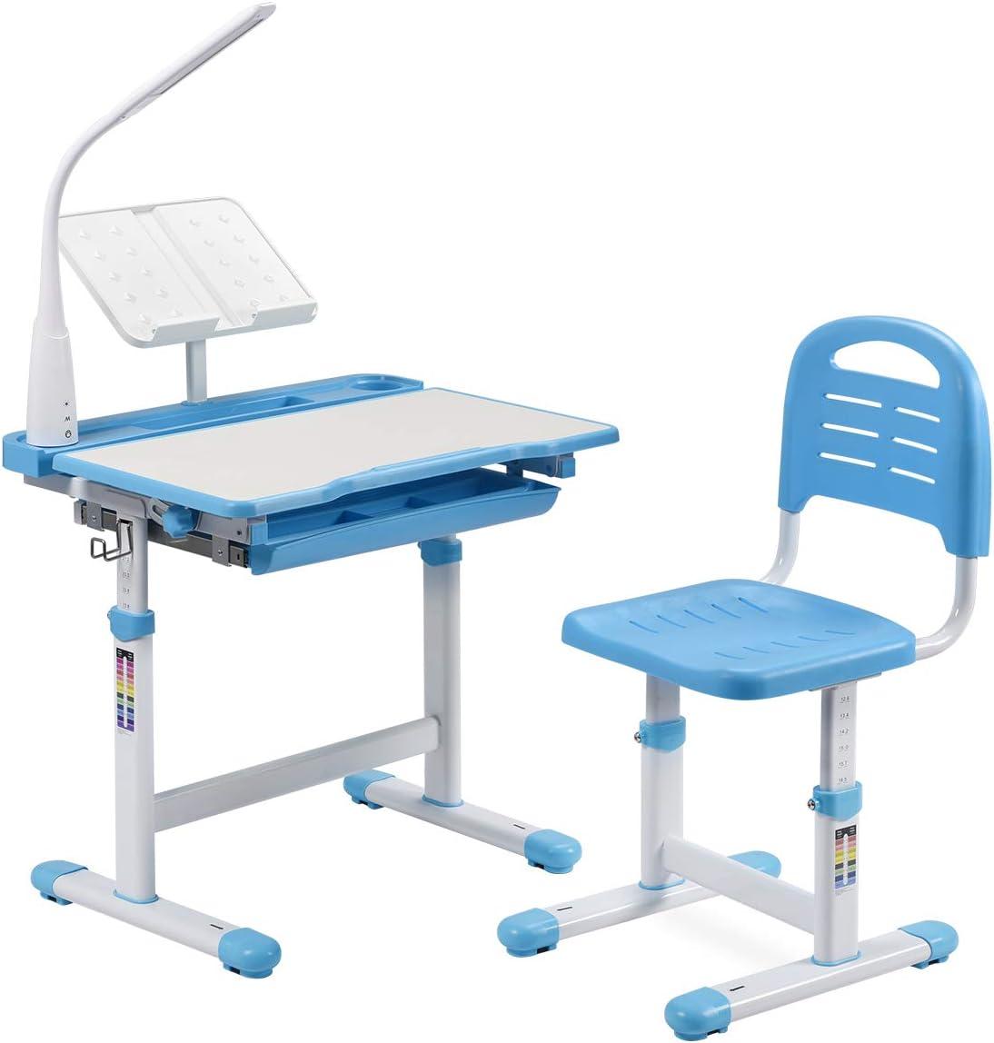 BiFanuo Kids Desks, Height Adjustable Children Desk and Chair Set,Childs School Student Sturdy Table with Tilt Desktop, LED Light、Pull Out Drawer Storage,Pencil Case,Metal Hook.Bookstand (Blue)