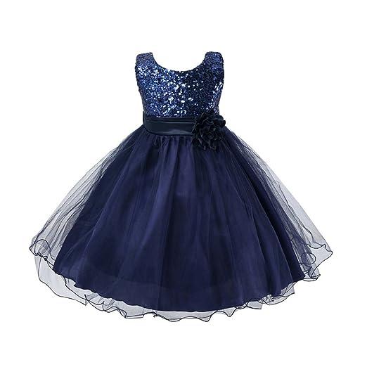 Weixinbuy Kids Girls Sequin Bowknot Sleeveless Summer Wedding Party Dress  Dark Blue 0-6M 6b034e6f8b23