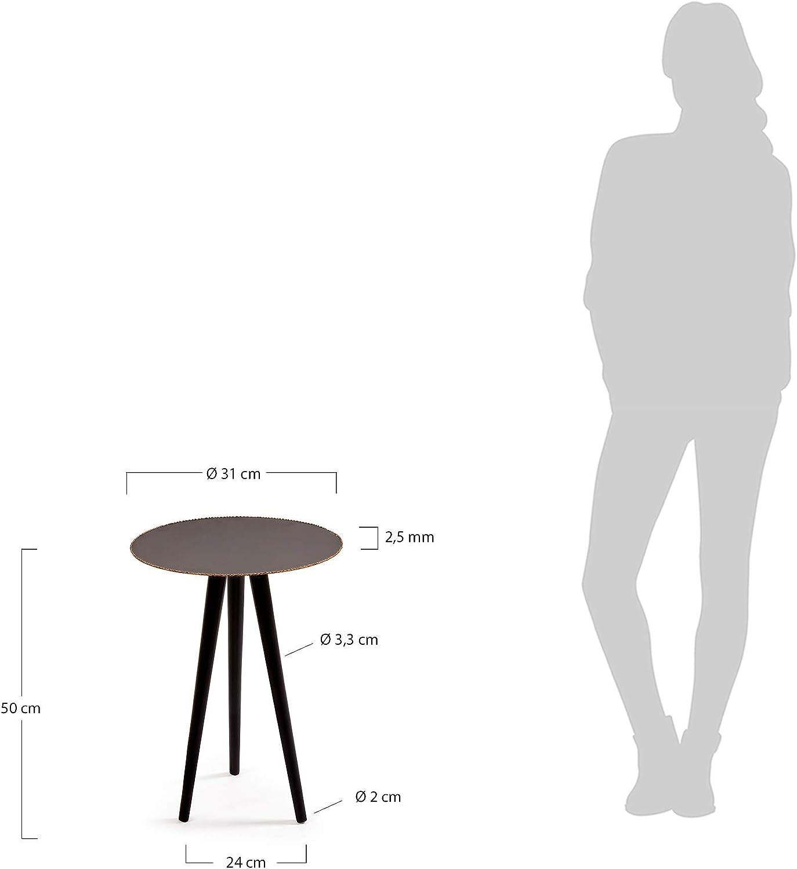 Kave Home Tavolino rotondo Pearson /Ø31 cm in metallo nero e dettaglio rame