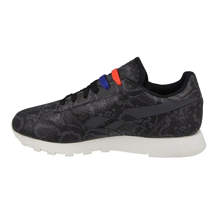 57097dde8b9626 Reebok Classic Leather Snake Trainers Black  Amazon.co.uk  Shoes   Bags