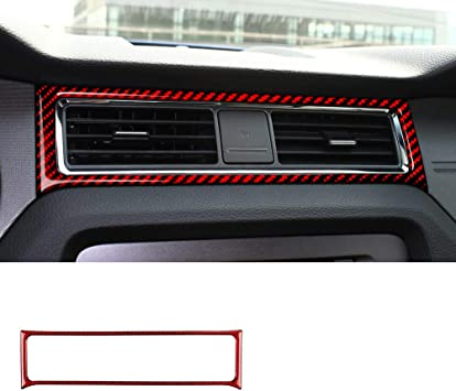 MICOOS Compatible with Carbon Fiber Dashboard Wind Outlet Cover for Ford Mustang 2015-2020 2Pcs Red