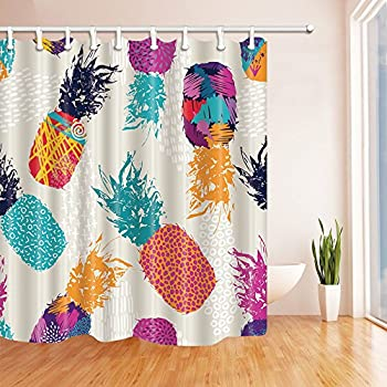 nymb tropical fruit watercolor pineapple kids shower curtains 69x70 inches mildew resistant polyester fabric fantastic bath curtain decorations