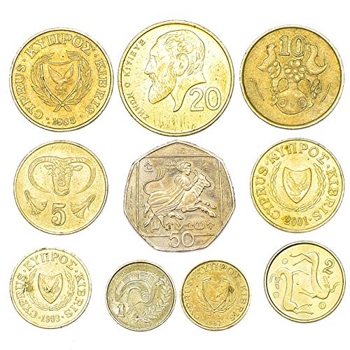 10 Mixed Cyprus Coins 1-50 Cents Cypriot Coins Collection from 1963. Perfect Choice for Your Coin Bank, Coin Holders and Coin Album