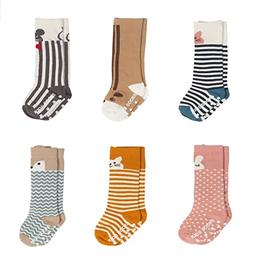 0688eb027 Baby Boys Girls Knee High Cotton Socks Non Skid Toddler Socks 6-Pairs (M