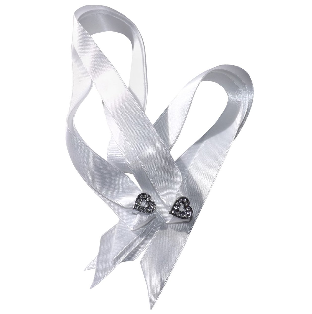 A Pair of Women's Stunning Crystal Heart Shoe Charms with a FREE Pair of Our White Satin Ribbon Laces