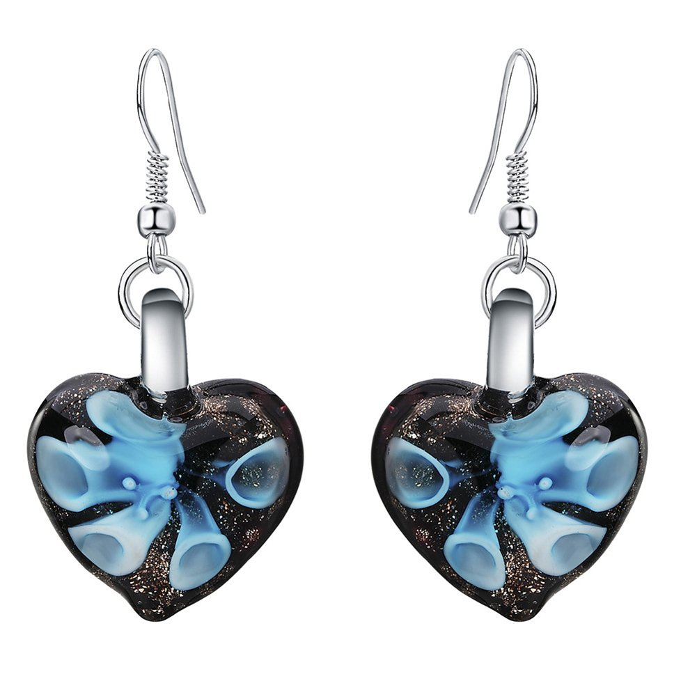 Wintefei Love Heart Shape Colored Glaze Pendant Flower Embedded Earrings Women Ear Hooks - Blue