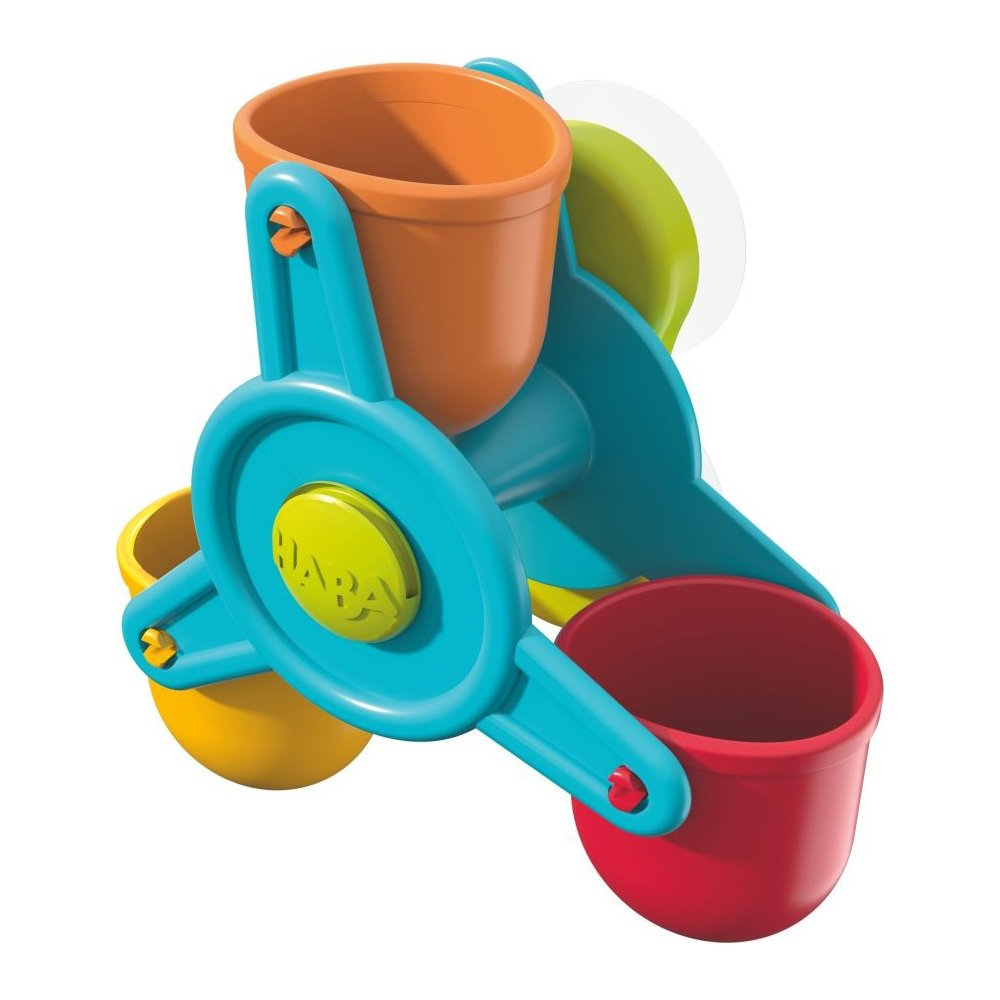 SG/_B0735XWGYN/_US HABA Bathtub Ball Track Bathing Bliss Water Wonders Waterwheel Funnel and Watering Can for Endless Pouring Fun