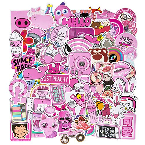 (Roberly Cute Laptop Stickers 100pcs Girls Pink Cartoon Waterproof Vinyl Stickers Water Bottles Stickers MacBook Motorbikes Bicycle Skateboard Luggage Guitar DIY Decoration Decals)
