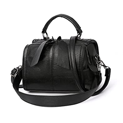 65221a9cfd01 Mn Sue Women Small Boston Bag PU Leather Handbag Top Handle Barrel Design  Satchel Crossbody Lady Purse