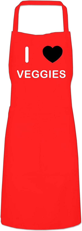 Black Cooks Bib Apron I Love Veggies