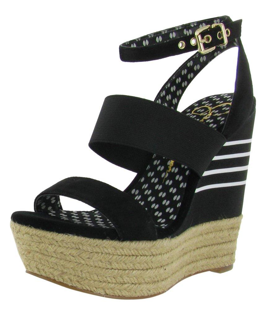 Jessica Simpson Women's Cosset Wedge Sandal B00CQ81WIS 8.5 M US|Black/Kid Suede