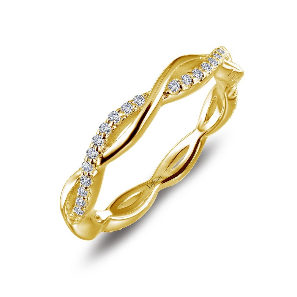Lafonn Classic Sterling Silver Gold Plated Simulated Diamond Ring (0.52 CTTW)