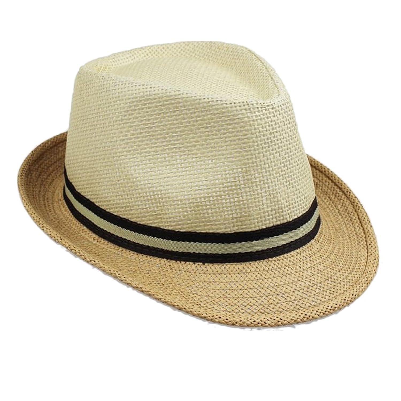 Zhhmeiruian Unisex Straw Hat Trilby Retro Style Summer Beach Sun Jazz Cap