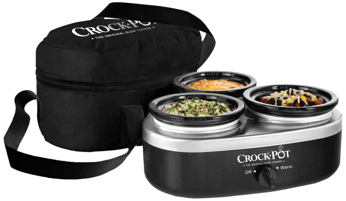 Crock-Pot 16-Ounce Little Triple Dipper Slow Cooker, Silver and Black, SCRMTD307-DK