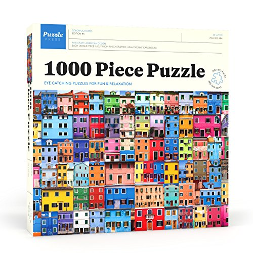House 1000 Piece Puzzle (Puzzle Press | Colorful Houses Picture Puzzle 1000 Piece Family Jigsaw Puzzle - Beautiful Colorful Architecture Puzzles)