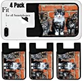 Liili Phone Card holder sleeve/wallet for iPhone Samsung Android and all smartphones with removable microfiber screen cleaner Silicone card Caddy(4 Pack) three kittens on bricks background IMAGE ID 8