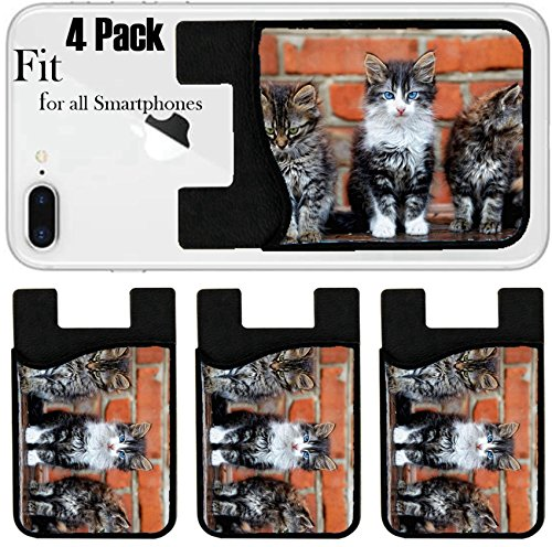 Liili Phone Card holder sleeve/wallet for iPhone Samsung Android and all smartphones with removable microfiber screen cleaner Silicone card Caddy(4 Pack) three kittens on bricks background IMAGE ID 8 by Liili