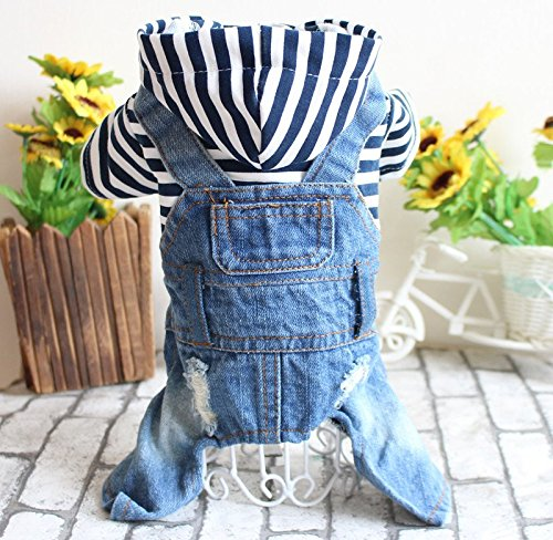 Lvon Pet Clothes Dog Jeans Jacket Cool Blue Denim Coat Small Medium Dogs Lapel Vests Classic Hoodies Puppy Blue Vintage Washed Clothes - Large