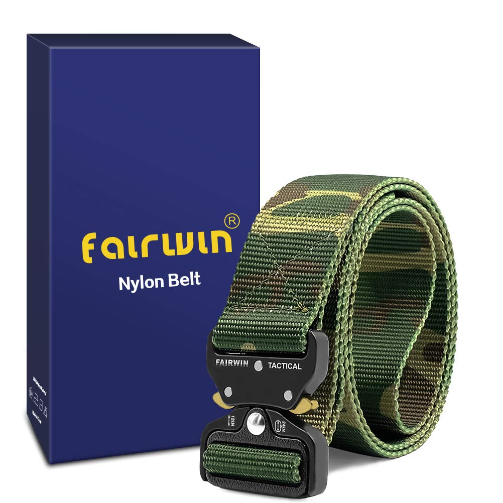 Fairwin Tactical Belt, Military Style Webbing Riggers Web Belt with Heavy-Duty Quick-Release Metal Buckle, (Camo M 36''-42'') by Fairwin (Image #2)
