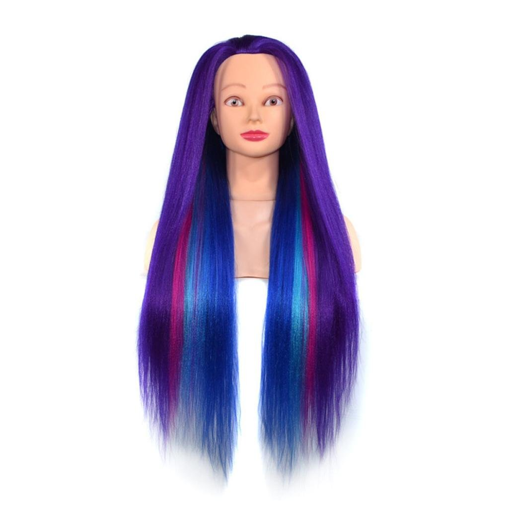 Amazon.com : Huphoon Wigs Silk Mannequin Head (Long and Thick) Colorful Hairdresser Training Doll Manikin Cosmetology Doll Head 60cm (G) : Beauty