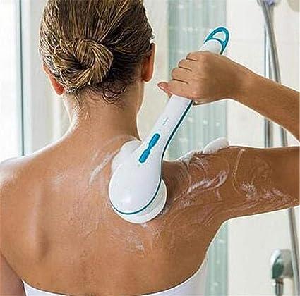 Blanc WZhen 5 en 1 Electric Body Deep Clean Massage Spa Shower Brush avec 5 Pi/èce Jointe