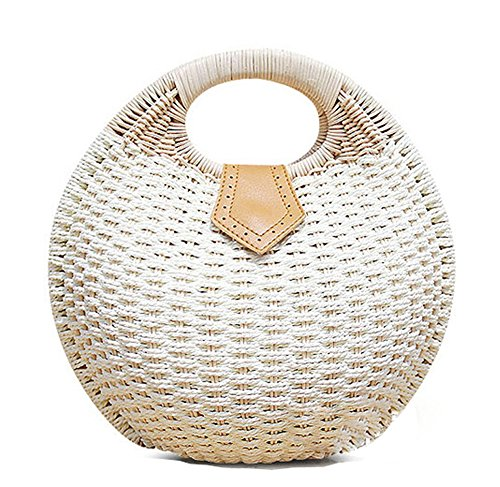 Pulama Wicker Woven Straw Beach Bucket Summer Fashion Vacation Women Top Handle Handbag (Cream Round CB)