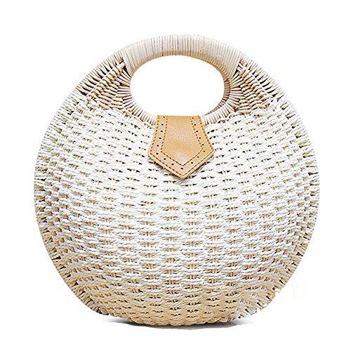 Pulama Wicker Woven Straw Beach Bucket Summer Fashion Vacation Women Top Handle Handbag (Cream Round CB) ()