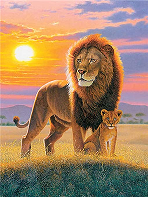 Paint by Number Kit On Canvas Home Decor Acrylic Oil Painting DIY Grassland Lion