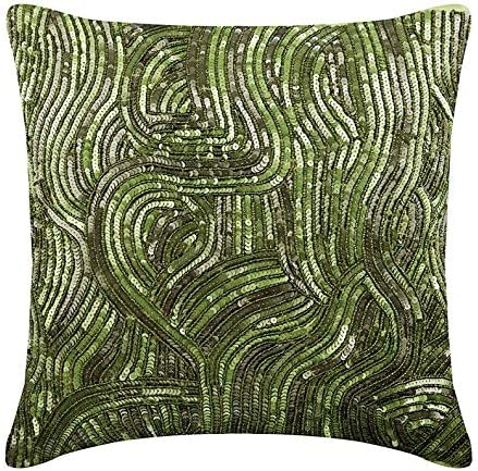 The HomeCentric Euro Pillow Sham, Luxury Green Euro Pillow Shams 26×26 inch 65×65 cm , Silk Euro Shams, Abstract, Tropical Euro Pillow Covers – Chlorophyll