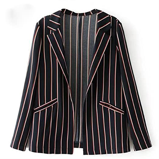JNagriculture New Autumn Winter Women Jacket Coat Casual Striped Blazer Coat OL Notched Outwears Ladies Long Sleeve Coat at Amazon Womens Clothing store: