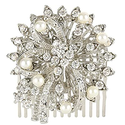 EVER FAITH® Bridal Silver-Tone Flower Bow Simulated Pearl Clear Austrian Crystal Hair Comb