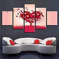 Wuwenw Decorazione Moderna Parete Quadro Hd Stampa 5 Pezzi Rosso A Forma Di Cuore Alberi Paesaggio Immagini Poster Modulare Canvas Dipinti Arte, 16X24 / 32 / 40Inch, Senza Cornice