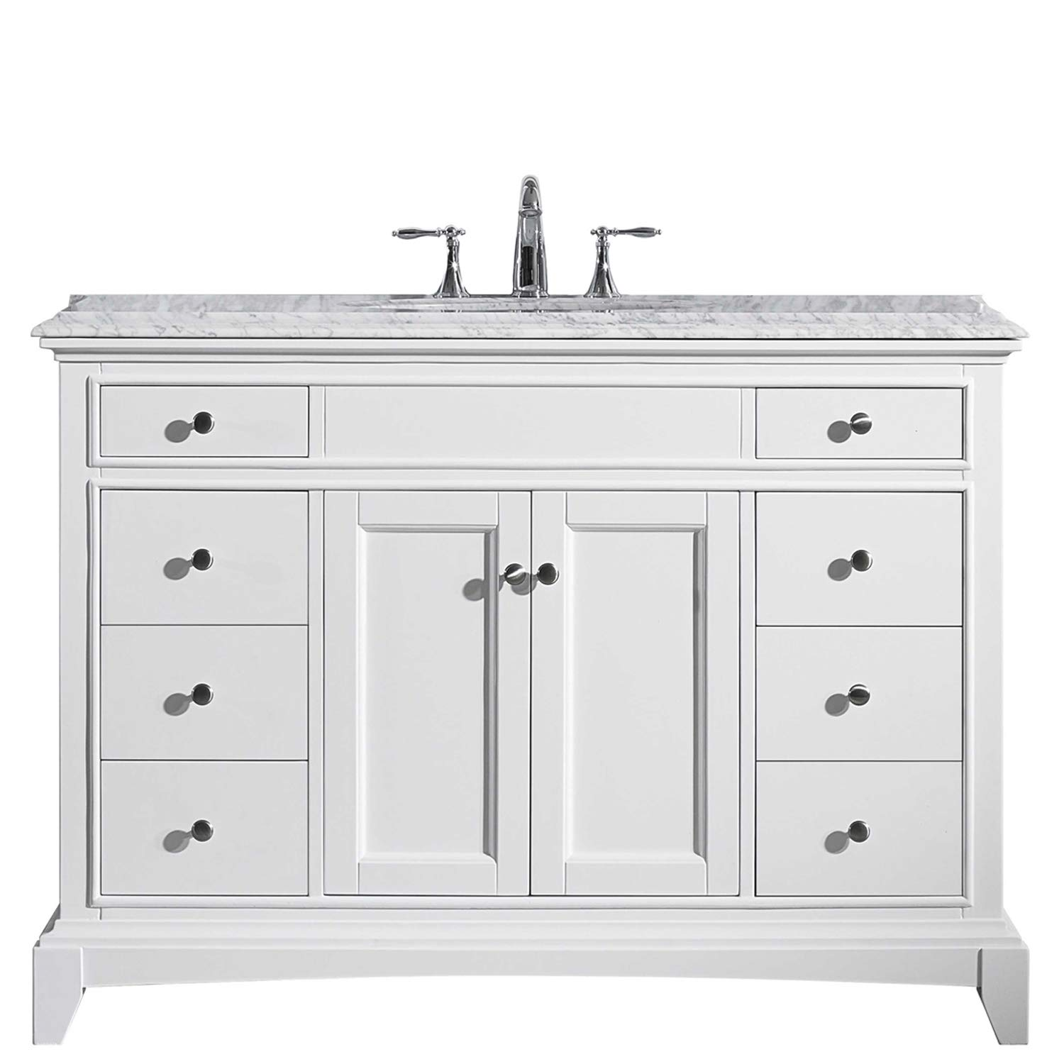Eviva EVVN709-42WH Elite Stamford 42 Solid Wood Bathroom Vanity Set with Double OG White Carrera Marble Top White Undermount Porcelain Sink Combination,
