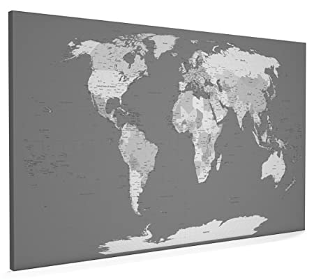 Map of the world map in grey canvas art print 22x34 inch a1 map of the world map in grey canvas art print 22x34 inch a1 gumiabroncs Image collections