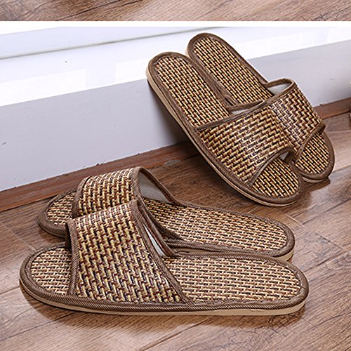 Men's Antiskid Room Breathable Brown Indoor Shoes Bamboo Tatami Slippers Women's qPEwdRq
