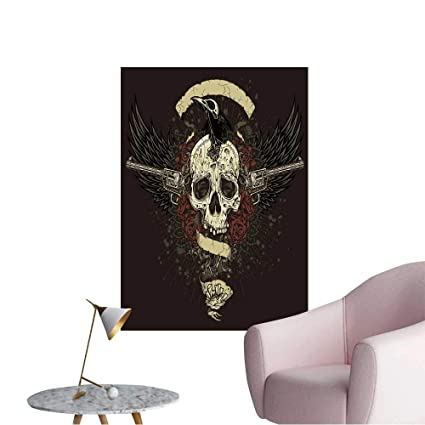 Wall Painting Raven Eating Skull Brains Collage Vector Of An Undead