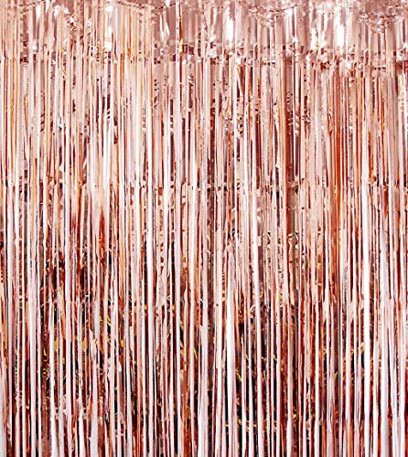 Blukey Foil-Fringe-Backdrop-Curtain-3FTx8FT-Rose Gold-Metallic-Photo-Booth-Tinsel-Curtain, Perfect Christmas/Wedding/Party Decoration (Rose Gold)