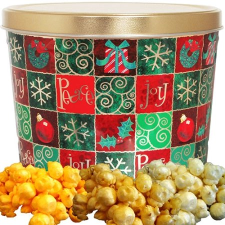 Holiday Checkers Popcorn Gift Tin Small by Just Poppin