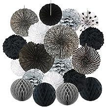 Hanging Paper Fan Set, Cocodeko Tissue Paper Pom Poms Flower Fan and Honeycomb Balls for Birthday Baby Shower Wedding Festival Decorations - Black