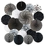 black and white decorations Hanging Paper Fan Set, Cocodeko Tissue Paper Pom Poms Flower Fan and Honeycomb Balls for Birthday Baby Shower Wedding Festival Decorations - Black