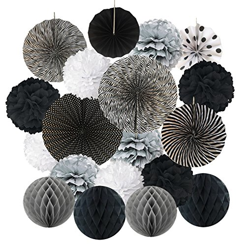 Hanging Paper Fan Set, Cocodeko Tissue Paper Pom Poms Flower Fan and Honeycomb Balls for Birthday Baby Shower Wedding Festival Decorations - - Wedding Silver Black And Decor