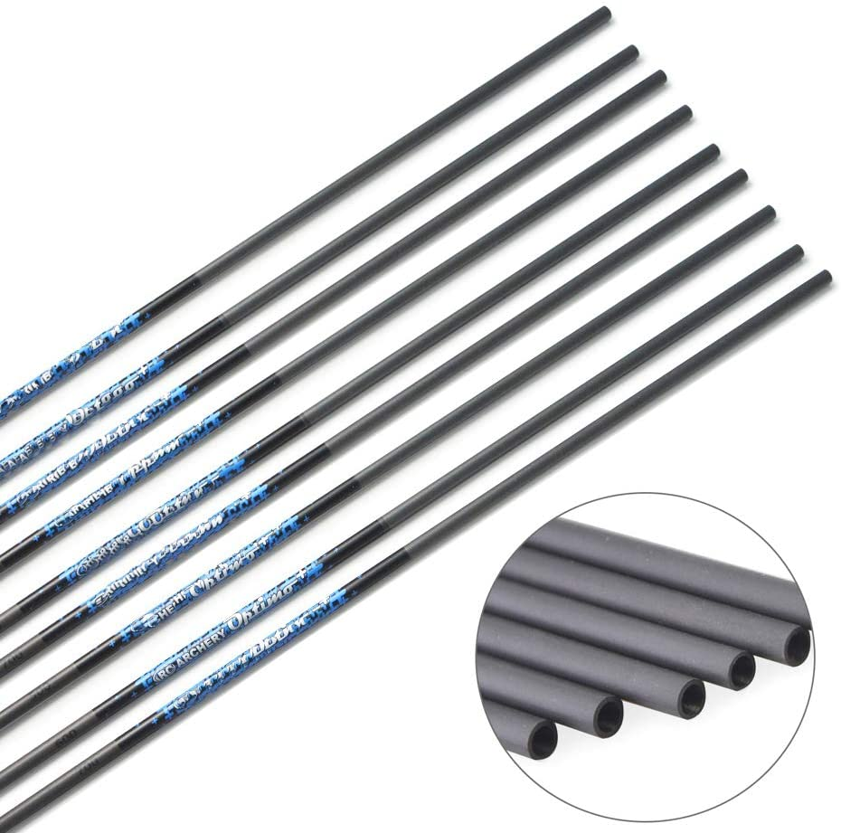 ZSHJG 10pcs Carbonpfeile Schaft Spine 500-1000 Jagd 30 Zoll Reiner Carbon Pfeil Rohr f/ür DIY Pfeile Compound Recurve Bogen