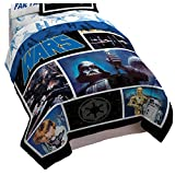 Star Wars Classic Logo Reversible Twin/Full Comforter and Sham Set with Darth Vader, R2D2, C-3PO (Official Star Wars Product)