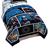 Star Wars Classic Logo Twin/Full Comforter - Super Soft Kids Reversible Bedding features Darth Vader - Fade Resistant Polyester Includes 1 Bonus Sham (Official Star Wars Product)