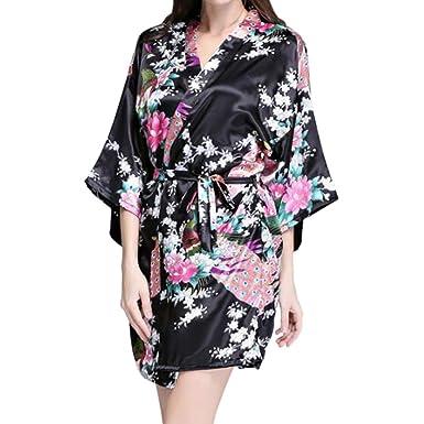 94ddca1617 Deylaying Women Elegant Short Sleeve Nightwear Printing Peacock Silk Kimono  Robe Sleepwear Bathrobe PJS for Bridal and Bridesmaid or Pajamas Parties:  ...