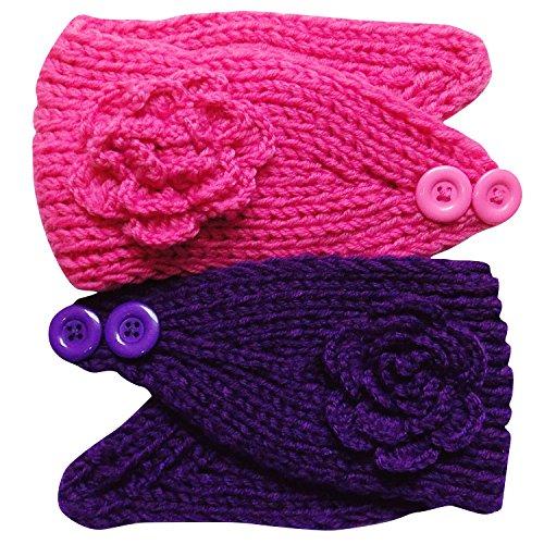 So Sydney Womens Teen Girl Toddler Knit Flower Head Wrap Ear Warmer Headband Pair (Pink & Purple)