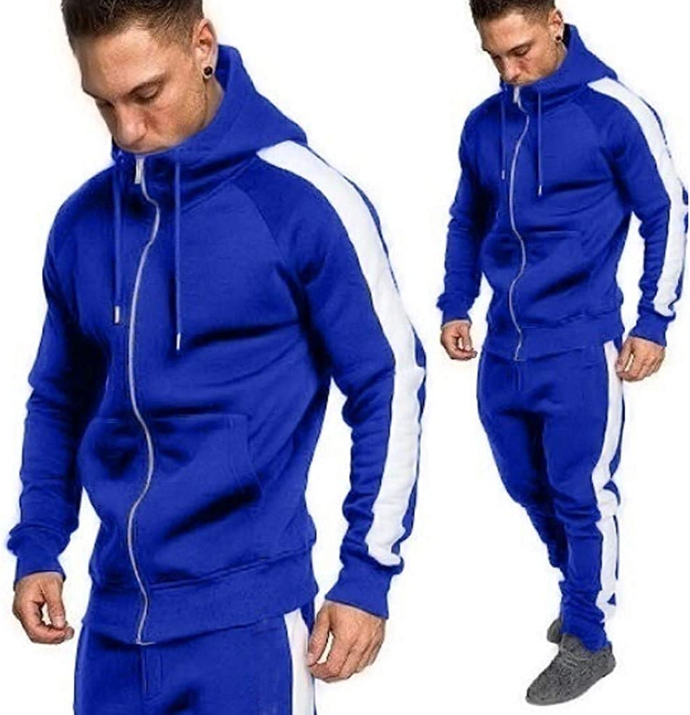 POQOQ Outwear Men Novelty Color Block Hoodies Cozy Sport Unisex Galaxy Pockets 3D Pullover Hoodie Sweatshirts 2XL Blue