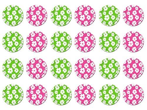 Beistle S58071AZ3, 24 Piece Hibiscus Plates, 7'' (Lime Green/Cerise)